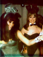 The Playboy Club, London: An original late 1960s/ early 1970s bunny costume, in green coloured satin, with matching tail, collar and cuffs,