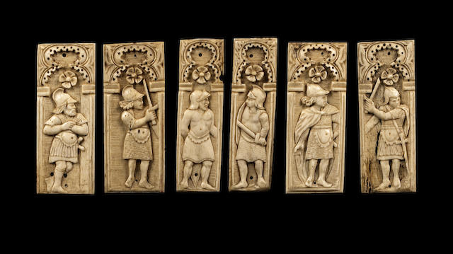 A set of six Italian carved bone relief panels possibly from a 15th century Embriachi casket