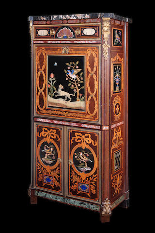 An exceptional ormolu-mounted maple, amaranth and espenille marquetry, specimen marble and pietre dure inlaid secrétaire à abattant by Emmanuel Alfred Beurdeley