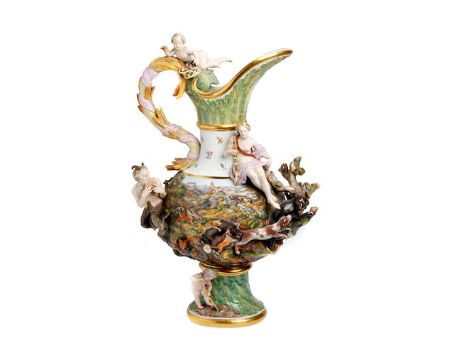 A very large Meissen wine ewer emblematic of Earth, after the model by J.J. Kandler Circa 1880
