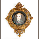 A collection of four Vienna style portrait wall plates, mounted within gilt metal frames Circa 1880-1900