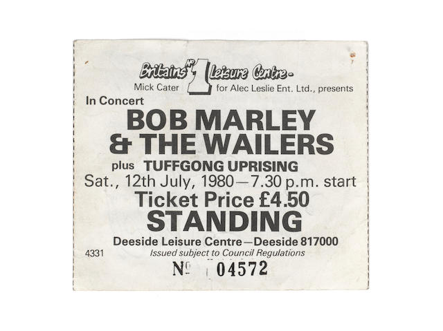 An autographed Bob Marley & The Wailers concert ticket,