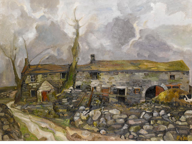 Sheila Fell R.A. (British, 1931-1979) Farm on the Yorkshire Moors 76 x 102 cm. (30 x 40 in.)