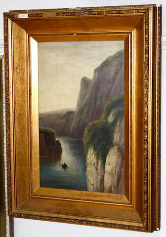 Sarah Louise Kilpack (British, born circa 1840-1909) Small fishing boat at sea below cliffs