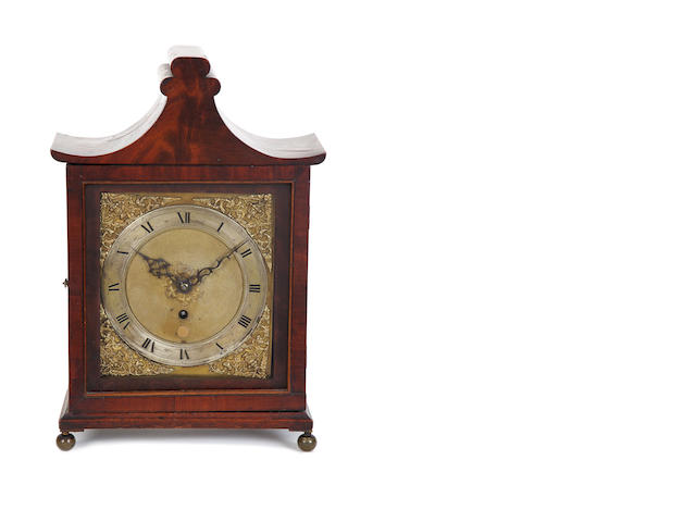 An interesting 17th Century bracket timepiece movement, now in a later mahogany case