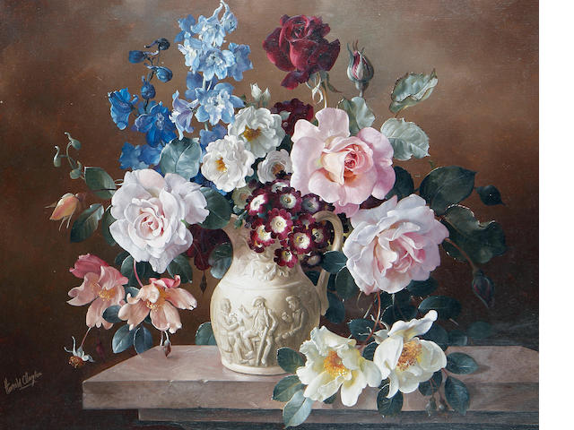 Harold Clayton (British, 1896-1979) Flowers in a Sculptured Vase 46 x 56 cm. (18 x 22 in.)