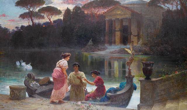 Ettore Forti (Italian, active 1880-1920) Evening at the temple