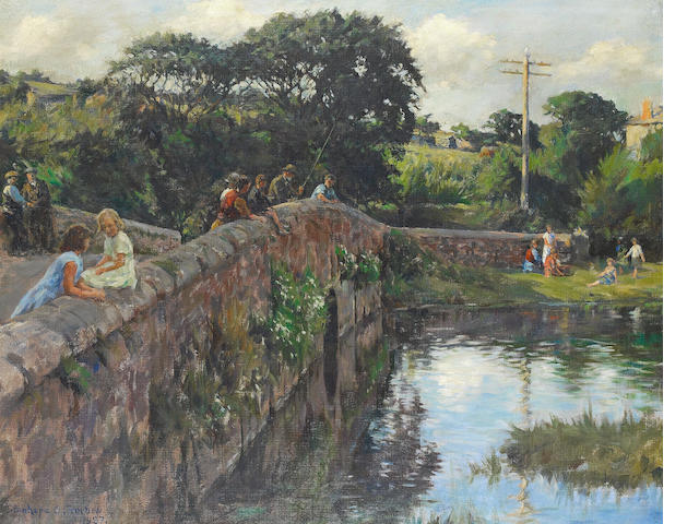 Stanhope Alexander Forbes, RA (British, 1857-1947) Evening on the bridge