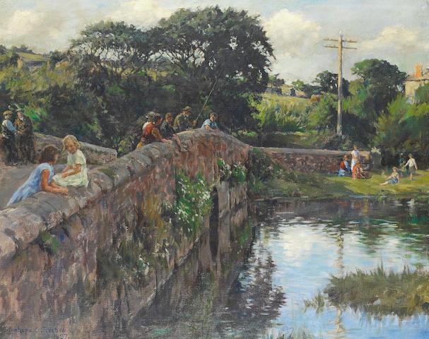 Stanhope Alexander Forbes, RA (British, 1857-1947) Evening on the bridge