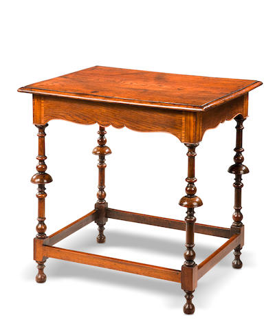 A William and Mary elm and fruitwood occasional table