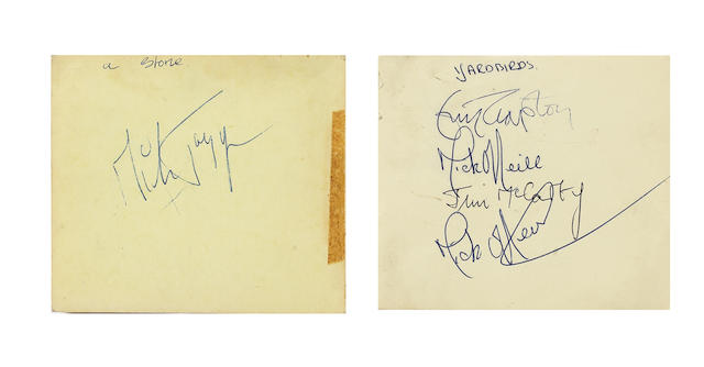 The Rolling Stones and The Yardbirds/ Eric Clapton: A collection of autographs, including:3