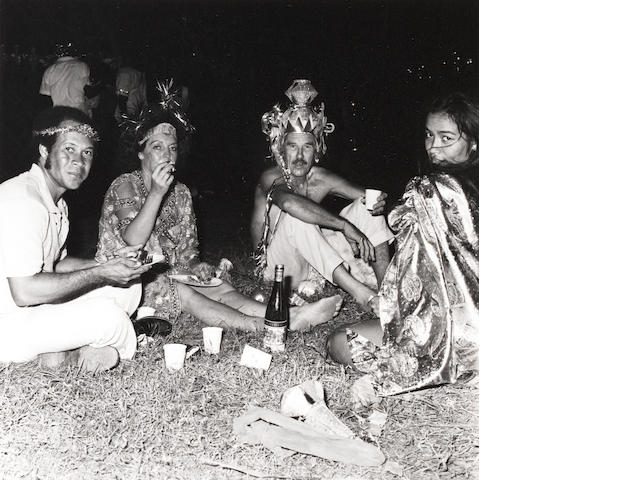An unidentified group of party guests, Mustique, 1976 Paper 35.5 x 27.8cm, image 13.9 x 13.7cm