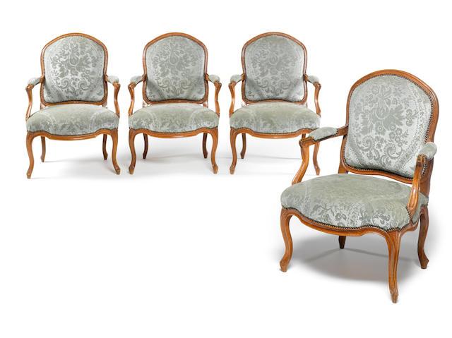 A set of four French Louis XV 18th century beechwood fauteuils à la Reine
