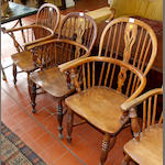 Five similar early 19th Century country elm armchairs