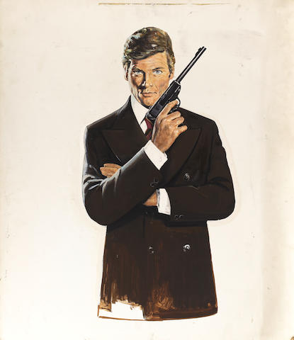 James Bond: A portrait painting of Roger Moore, attributed to Robert McGinnis, 1974, believed to be the original 'The Man With The Golden Gun' poster artwork, subsequently used throughout the Roger Moore as Bond campaigns,