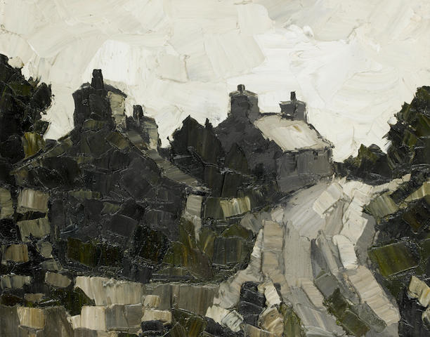 Sir Kyffin Williams R.A. (British, 1918-2006) Road near Malltraeth 44 x 54 cm. (17 1/4 x 21 1/4 in.)