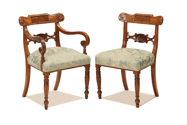 A set of six late Regency mahogany dining chairs