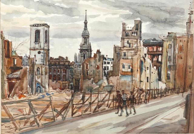 William Norman Gaunt (British, 1918-2001) 'Wood Street, City'
