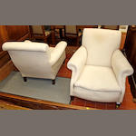 A pair of Edwardian upholstered armchairs,