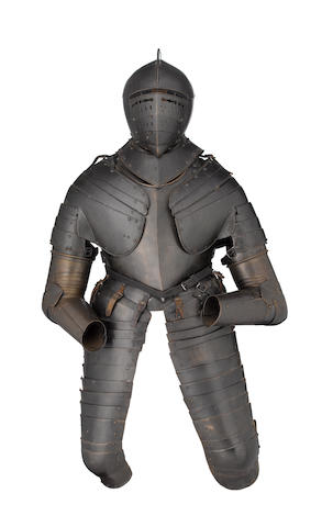 A Blackened Cuirassier Three-Quarter Armour