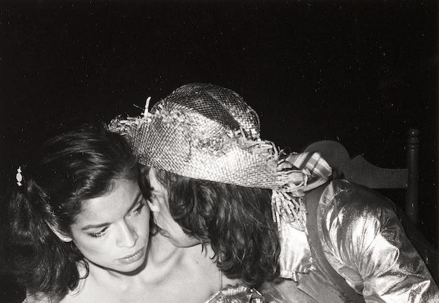 Robert Mapplethorpe (American, 1946-1989) Bianca and Mick Jagger, Mustique, 1976 Paper 35.6 x 27.7cm, image 11.4 x 16.4cm