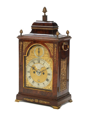 A good late 18th century brass-mounted mahogany bracket clock with alarm John Taylor, London