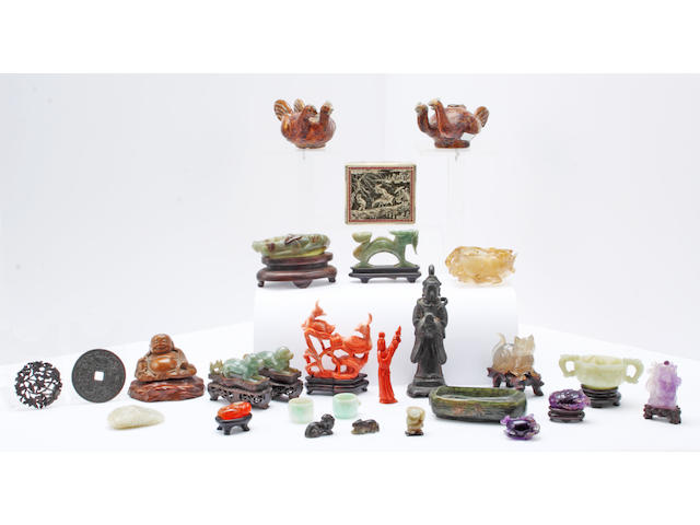 An  interesting group of Chinese coral, hardstone and bronze objects including: