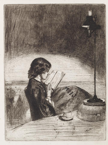James Abbott McNeill Whistler (American, 1834-1903) Reading by lamplight Etching, 1858, on cream laid, final second state, with changes to the hair and nose, 160 x 120mm (6 3/8 x 4 3/4in)(PL)