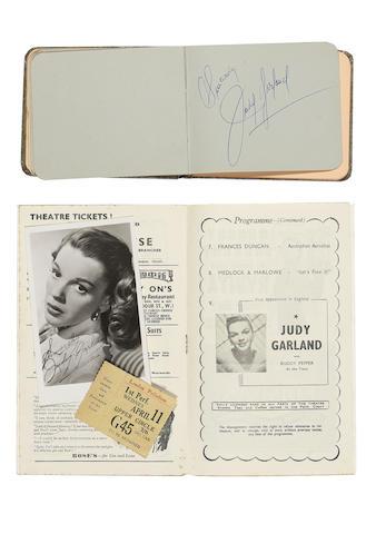 Judy Garland autograph, concert programme and ticket, 1951,