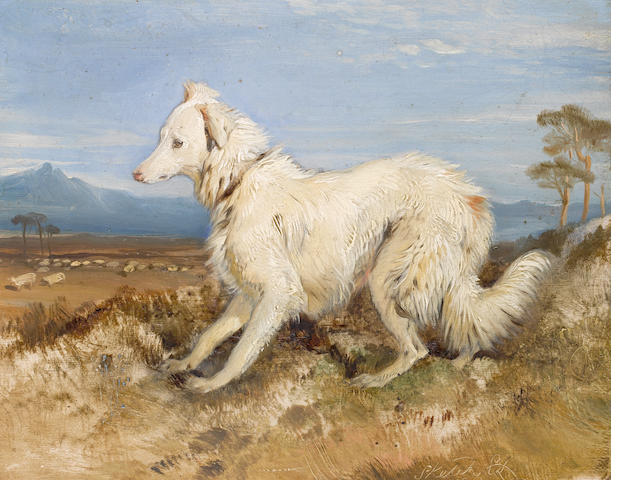 Sir Edwin Landseer, R.A. (British, 1802-1873) White Collie in a landscape
