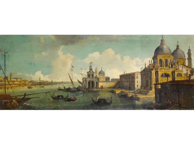 Circle of Gaetano Verturali (Lucca 1701-1783) A capriccio of the entrance to the Grand Canal,