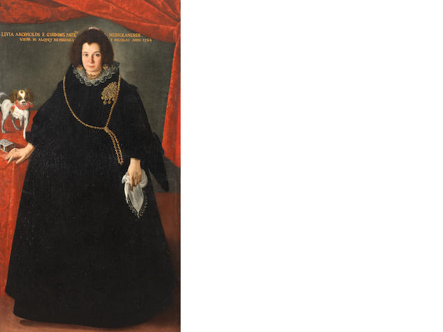 Pier Francesco Cittadini (Milan 1616-1681 Bologna) Portrait of a lady, full-length, in a black dress with a gold chain and brooch,