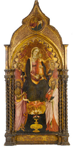 Rossello di Jacopo Franchi (Florence circa 1377-1456) The Madonna and Child with Saints Paul, John the Baptist, with integral frame