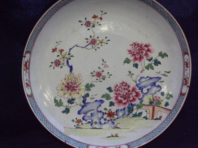 Three Chinese famille rose dishes