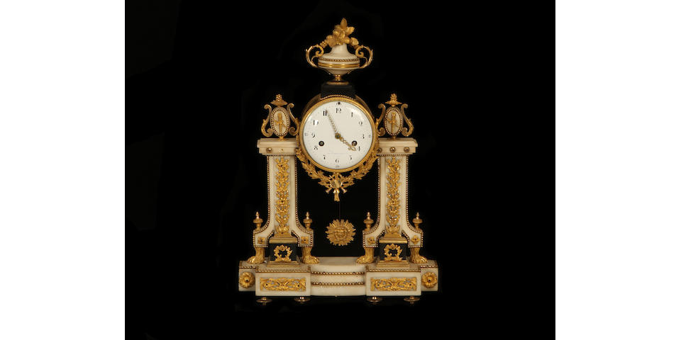 A Louis XVI period gilt bronze and white marble portico clockby Jean-Louis Rouviere, maitre 1781