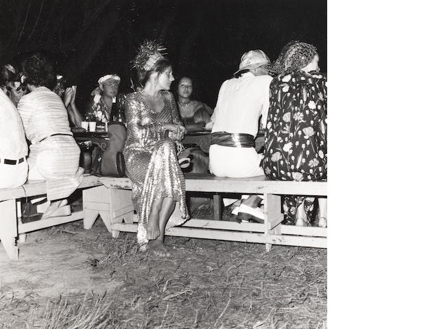 Robert Mapplethorpe (American, 1946-1989) Seated party guests, Mustique, 1976 Paper 35.6 x 27.7cm, image 14 x 13.7cm