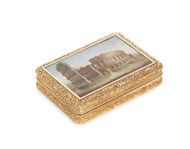 A 19th century Swiss gold and micro mosaic mounted snuff boxby Bautte & Moynier, maker's mark stamped thrice to interior base and cover, Geneva circa 1850