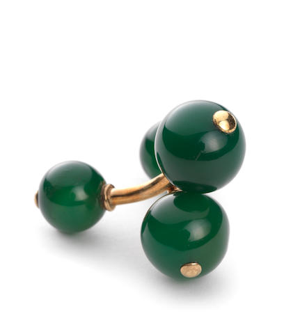 A pair of double-sided green chalcedony cufflinks given to Lord Glenconner by Princess Margaret