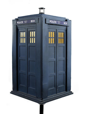 A miniature Tardis model, created for exhibition purposes,