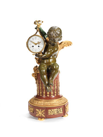 Large Ormolu and bronze clock , boy and drum