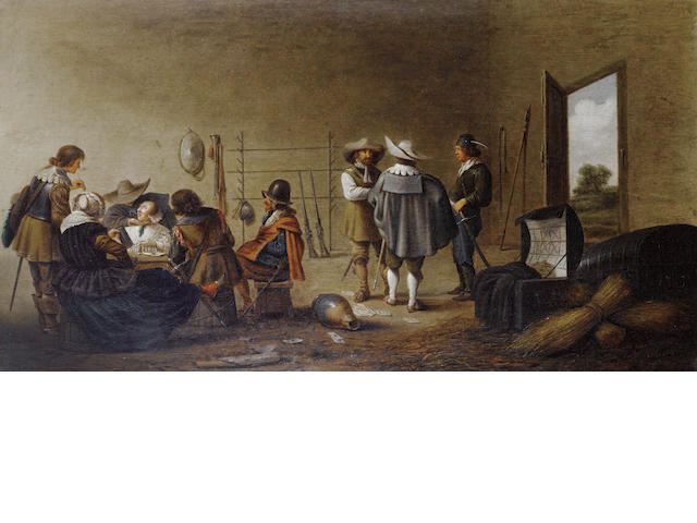 Pieter Jacobsz. Codde (Amsterdam 1599-1678) Figures merrymaking in a guardroom interior