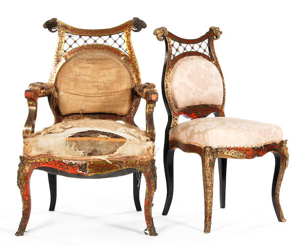 A set of six ebony and boulle Russian chairs, to include two elbow chairs.
