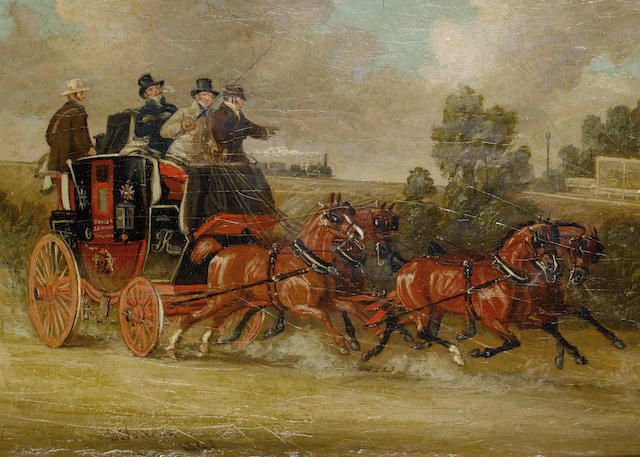 James Pollard (British, 1797-1867) Springing them up to meet the train; Just in time for the coach to Hull