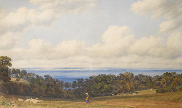 William Turner of Oxford, OWS (British, 1789-1862) View from St John's, near Ryde Isle of Wight, looking towards Spithead and Portsmouth