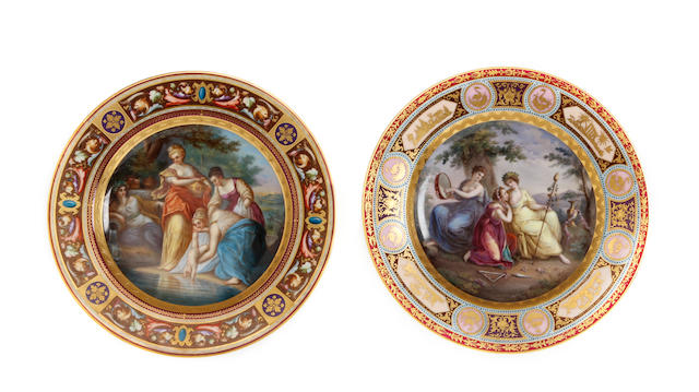Two Vienna style cabinet plates Late 19th Century