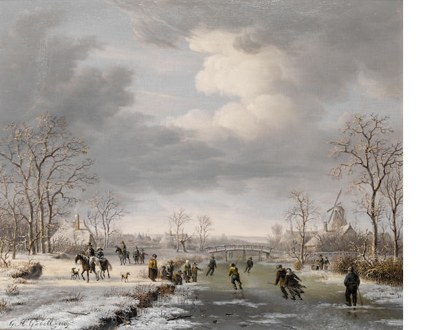 Gerrit Hendrik Gobell (Dutch, 1786-1833) Skating on the outskirts of a village in winter