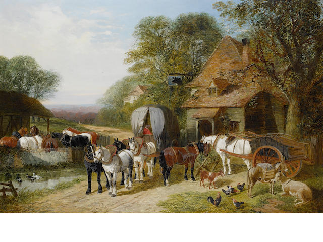John Frederick Herring, Jnr. (British, 1815-1907) Halt outside the Bull's Head