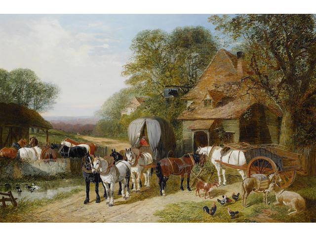 John Frederick Herring, Jnr. (British, 1815-1907) Halt outside the Bull's Head