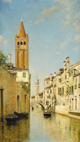 Rafael Senet y Perez (Spanish, 1856-1926) On a Venetian backwater