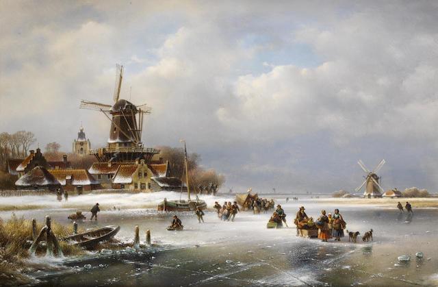 Lodewijk Johannes Kleijn (Dutch, 1817-1897) Villagers on a frozen waterway